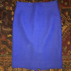 J CREW WOOL NO. 2 PENCIL SKIRT BLUE SIZE 0